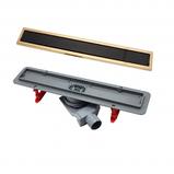 13100095 Душевой лоток Pestan Confluo Premium Black Glass Line 450 Gold, фото 2