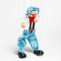 """Деревянная игрушка Дергунчик - Марионетка """"Клоун в шляпе"""""""