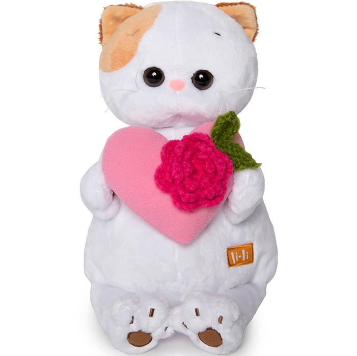 Мягкая игрушка Кошечка Ли-Ли с розовым сердечком, 24 см