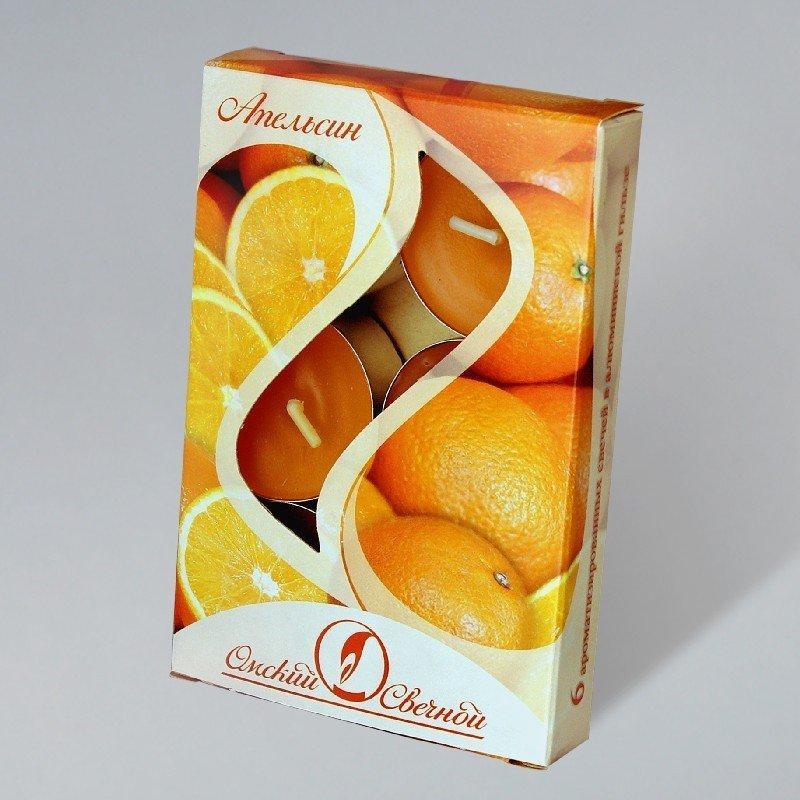 Свечи чайные в гильзе ароматизир. Апельсин 12гр.,  парафин, 6 шт