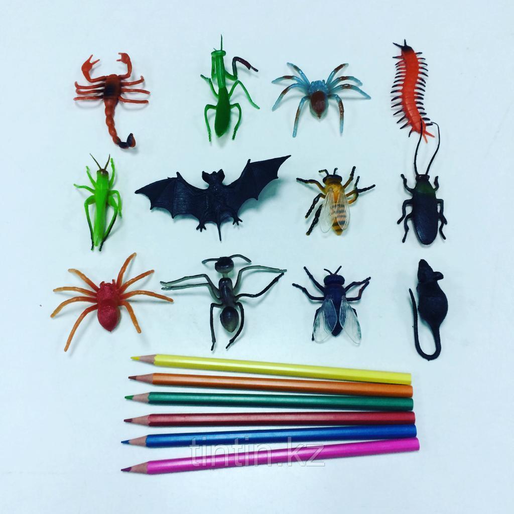 Набор из 12 резиновых насекомых