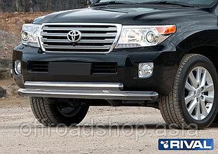 Защита переднего бампера d76+75х42 овал Toyota Land Cruiser 200, 2011-2015