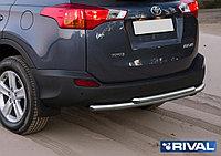 Защита заднего бампера d57+d57 Toyota Rav 4, 2013-2015