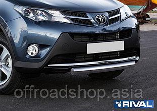 Защита переднего бампера 75х42 овал Toyota Rav 4, 2013-2015