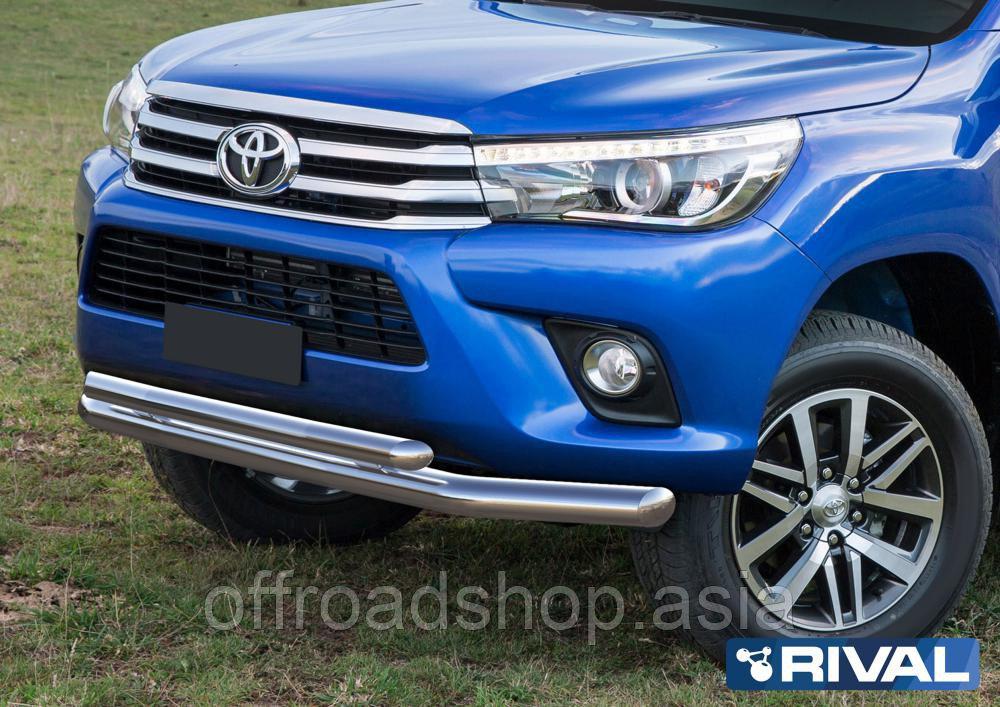 Защита переднего бампера d76+d57 (кроме Exclusive) Toyota Hilux, 2015-