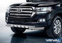 Защита переднего бампера d76+d57 с профильной защитой картера Toyota Land Cruiser 200, 2015-