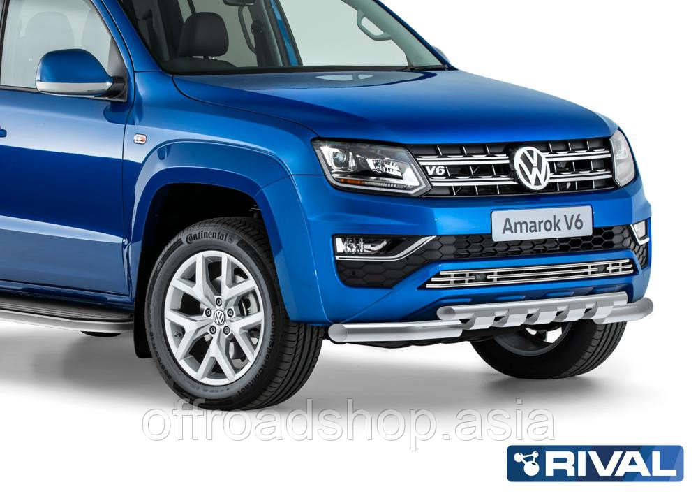 Защита переднего бампера d76+d57 с профильной защитой картера Volkswagen Amarok, 2016-