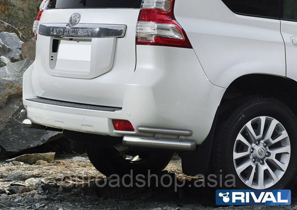 Защита заднего бампера d76+d42 уголки Toyota Land Cruiser Prado, 2009-2013-2017