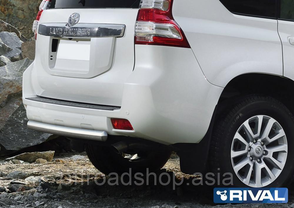 Защита заднего бампера 75x42 овал Toyota Land Cruiser Prado, 2009-2013-2017