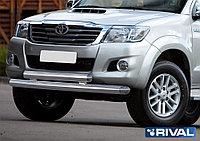 Защита переднего бампера d76+75х42 овал Toyota Hilux, 2011-2015