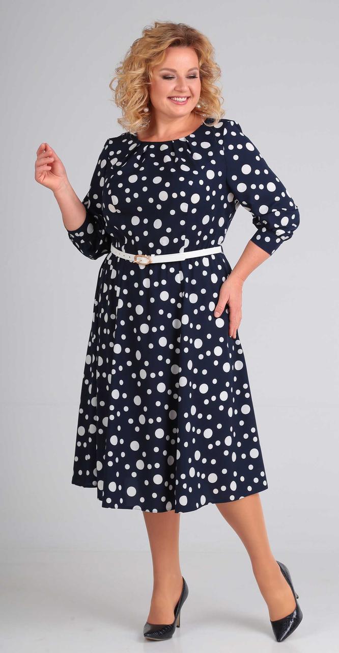 Платье Асолия-2373, темно-синий+горох большой, 50