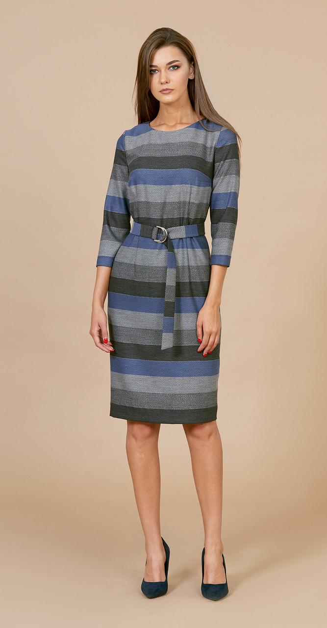 Платье EOLA-1728, полоска серо-голубая, 50