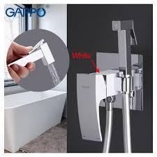 Смеситель с гигиеническим душем Gappo белый-хром