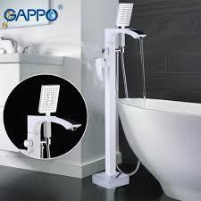 Смеситель для ванны напольный GAPPO белый-хром