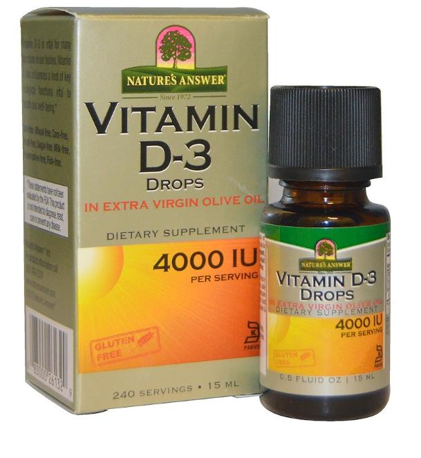 Nature's Answer, Витамин D-3 в каплях, 4000 МЕ, 15 мл