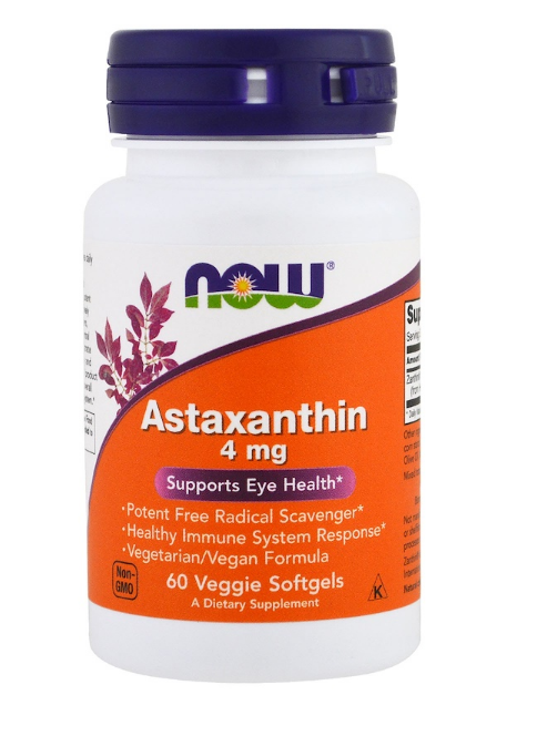 Now Foods, Астаксантин, 4 мг, 60 растительных капсул