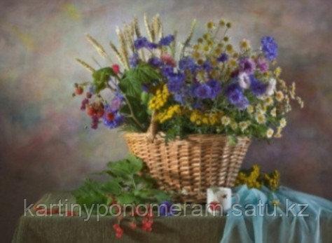"""Картина по номерам """"Полевые цветы в корзине"""""""