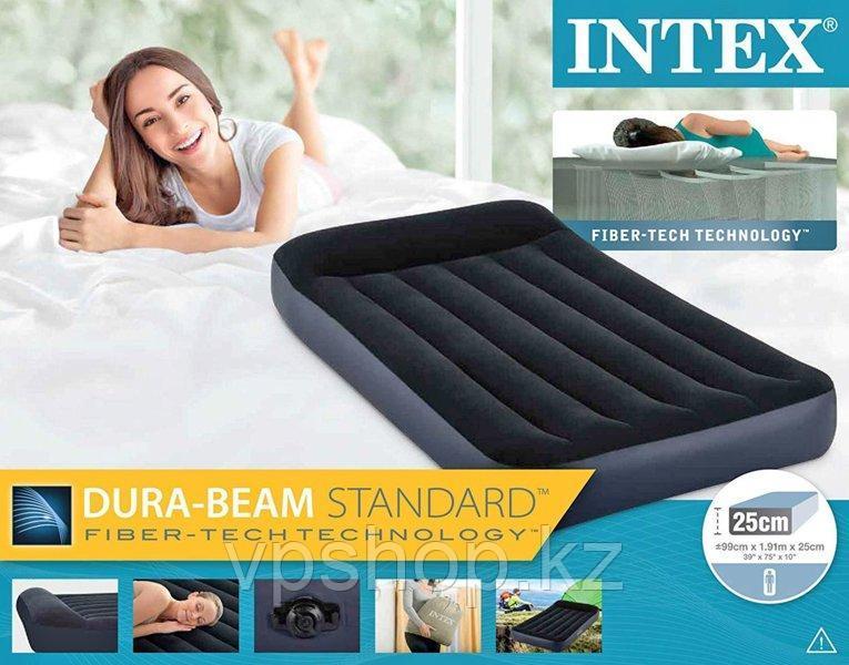 Надувной матрас односпальный с подголовником INTEX 64141