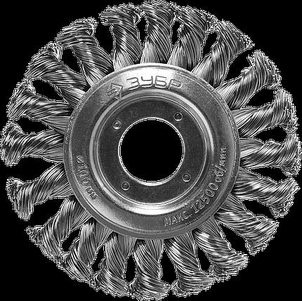Щетка дисковая для УШМ, плетеные пучки стальной проволоки 0,5мм, 100х22мм, ЗУБР, фото 2