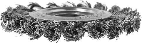 Щетка дисковая для УШМ, плетеные пучки стальной проволоки 0,5мм, 100х22мм, ЗУБР, фото 3