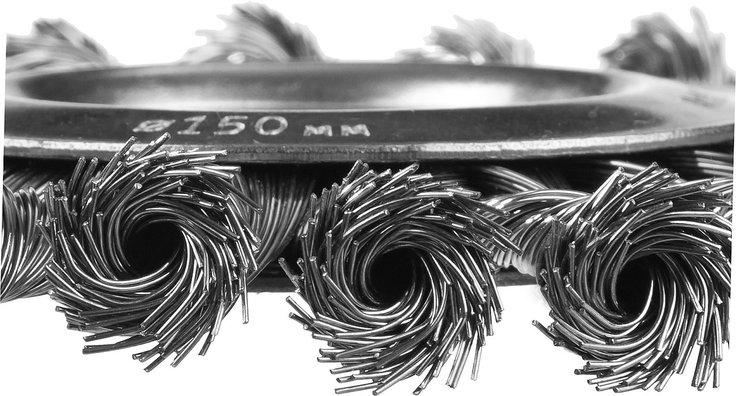 Щетка дисковая для УШМ, плетеные пучки стальной проволоки 0,5мм, 150х22мм, ЗУБР, фото 2