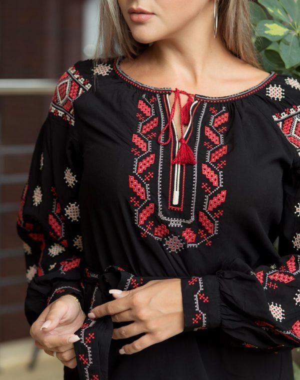 Вышиванка женская Гроно черный штапель - фото 3
