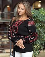 Вышиванка женская Гроно черный штапель