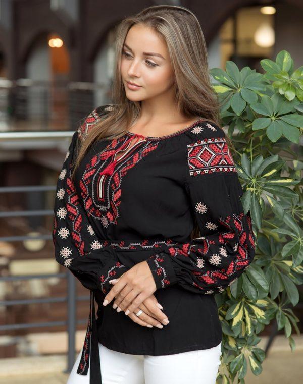 Вышиванка женская Гроно черный штапель - фото 1