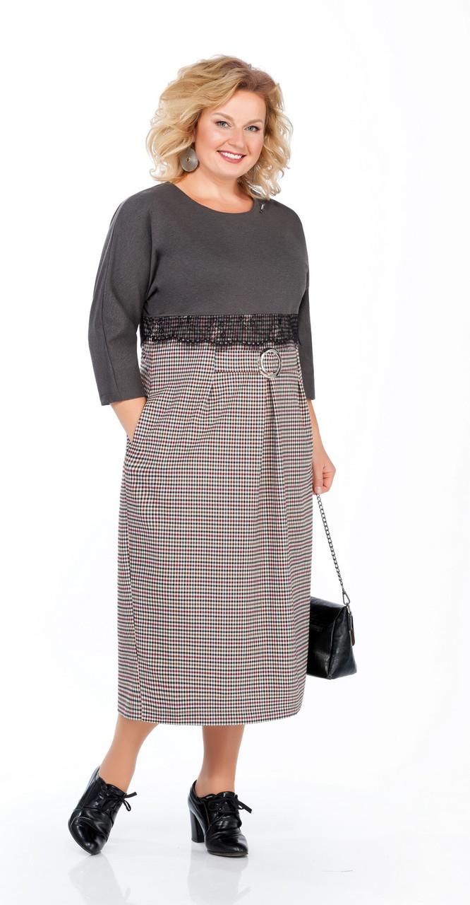Платье Pretty-790, темно-серый+мелкая клетка, 58