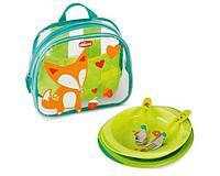Chicco: Набор детской посуды ( тарелка 2 шт, ложка, вилка) в рюкзачке 18м+