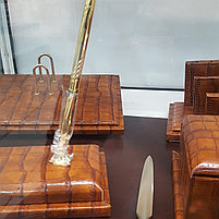 Набор настольный 9 предметов, дерево, темно-коричневая кожа Grand, фото 3
