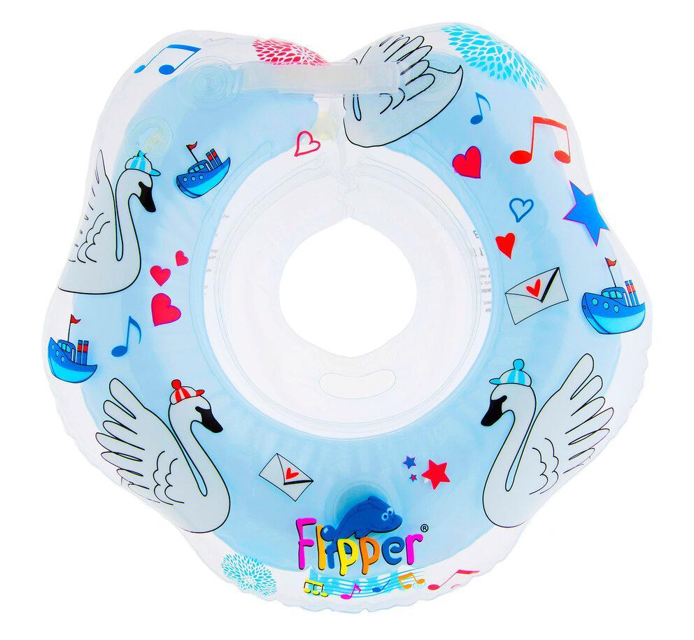 """Надувной круг на шею для купания малышей Flipper 0+ с музыкой из балета """"Лебединое озеро"""" голубой - фото 2"""