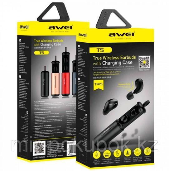 Бесспроводные портативные блютуз наушники Awei T5 с зарядным кейсом и микрофоном (bluetooth наушники) - фото 6