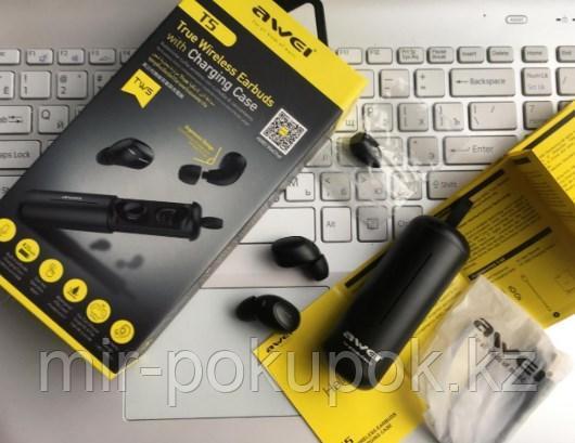 Бесспроводные портативные блютуз наушники Awei T5 с зарядным кейсом и микрофоном (bluetooth наушники) - фото 8