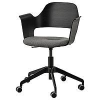 Конференц-стул, ФЬЕЛЛБЕРГЕТ ясеневый шпон/черная морилка, Гуннаред темно-серый ИКЕА, IKEA, фото 1