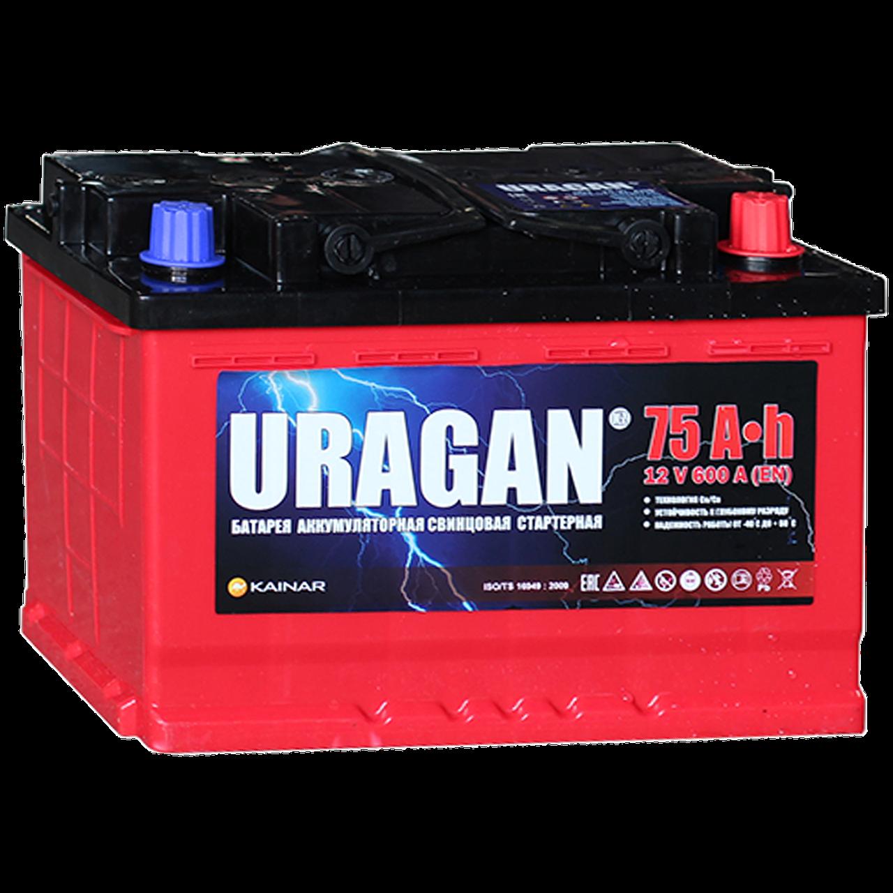 Аккумулятор автомобильный URAGAN 6СТ-75 VL AПЗ (0)