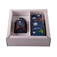 """Набор  """"Малина-мята"""", варенье малиновое и иван-чай с мятой в подарочной упаковке, белый, синий, , 30021"""