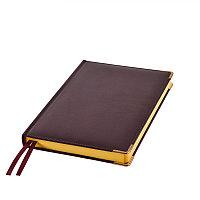 Ежедневник полудатированный Rarity, A5, темно-бордо, рециклированная кожа, кремовый блок, подарочная,