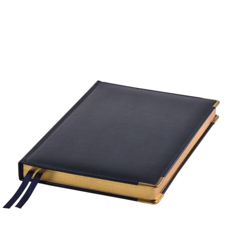 Ежедневник полудатированный Rarity, A5, темно-синий, рециклированная кожа, кремовый блок, подарочная,