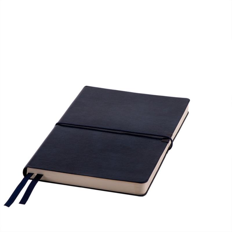 Ежедневник недатированный Save , A5, темно-синий,  рециклированная кожа, кремовый блок, подарочная,