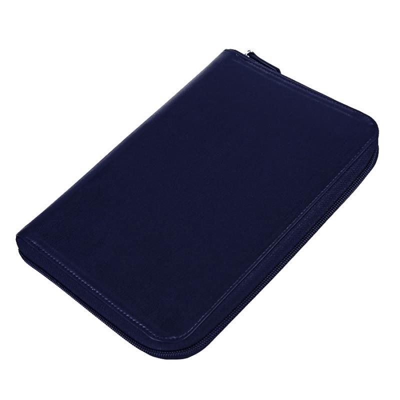 Ежедневник недатированный Chief , A5, на молнии, темно-синий, кремовый блок, подарочная коробка, Темно-синий,