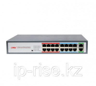 Коммутатор PoE 16-портовый ONV POE31016PL  16 портов 10/100Mbps PoE 802.3af/at, 2 RJ45 100/1000Mbps, 9-16 порт 10М/ 250 m. Long Distance Mode, бюджет
