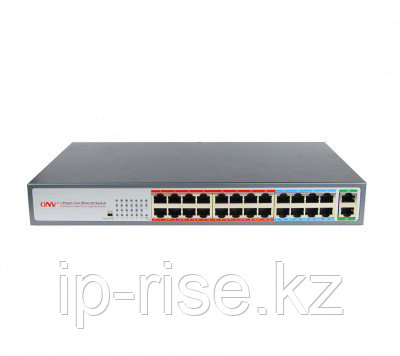 Коммутатор PoE 24-портовый ONV-POE31024PL  24 порта 10/100Mbps PoE 802.3af/at, 2 RJ45 100/1000Mbps, 17-24 порт 10М/ 250 m. Long Distance Mode, бюджет