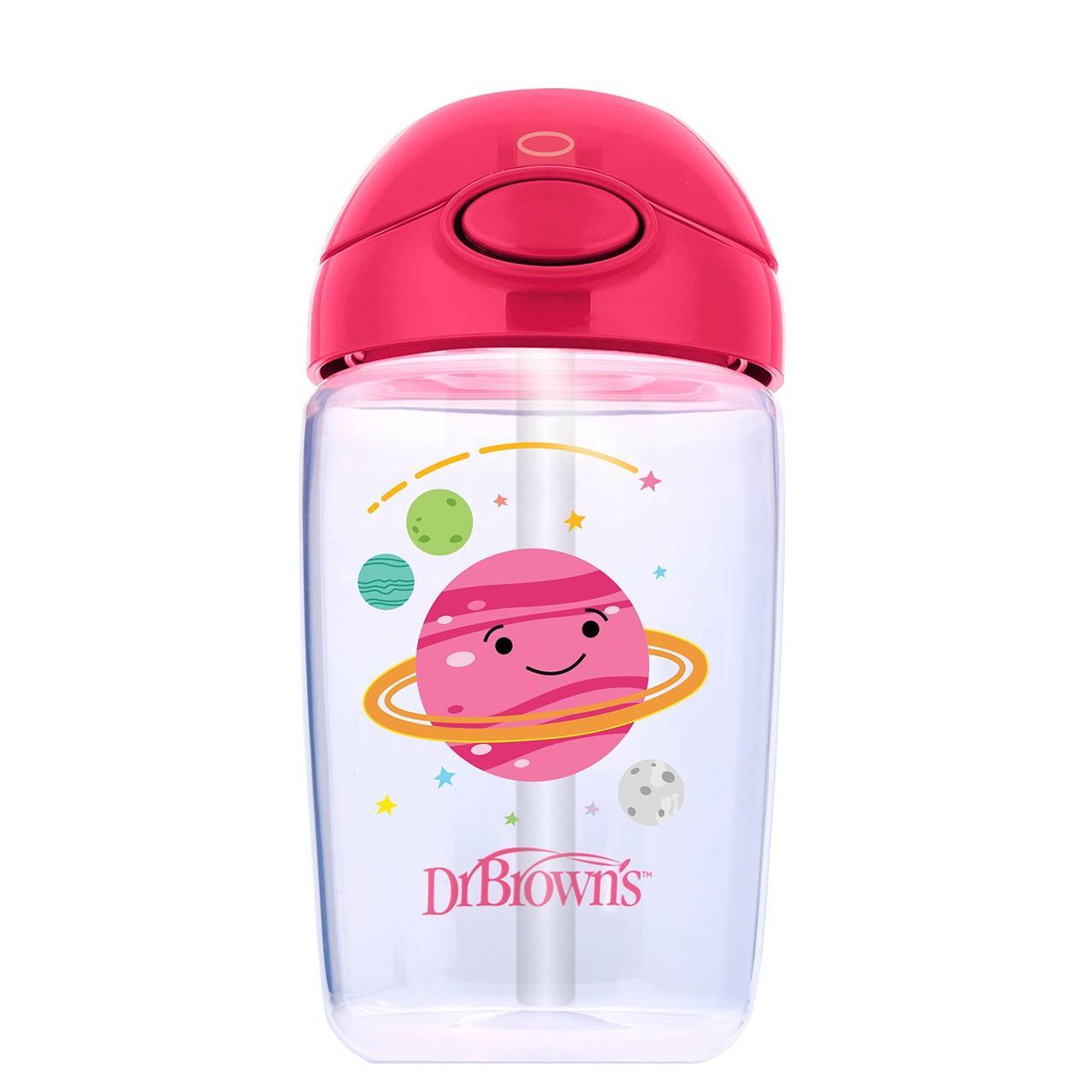 Чашка поильник Dr.Brown's 350 мл с трубочкой 12+,розовая планета