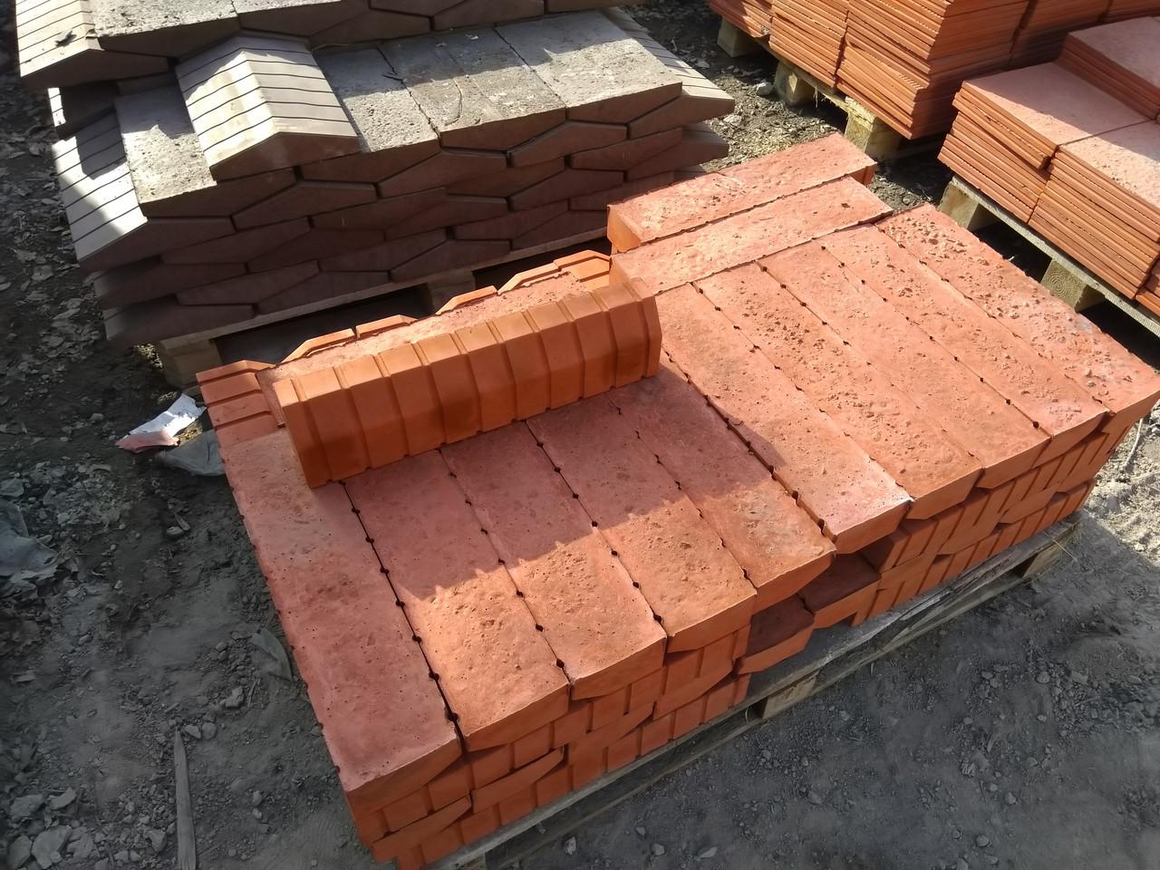 Бордюр 500x120x80 для тротуарной плитки  Красный