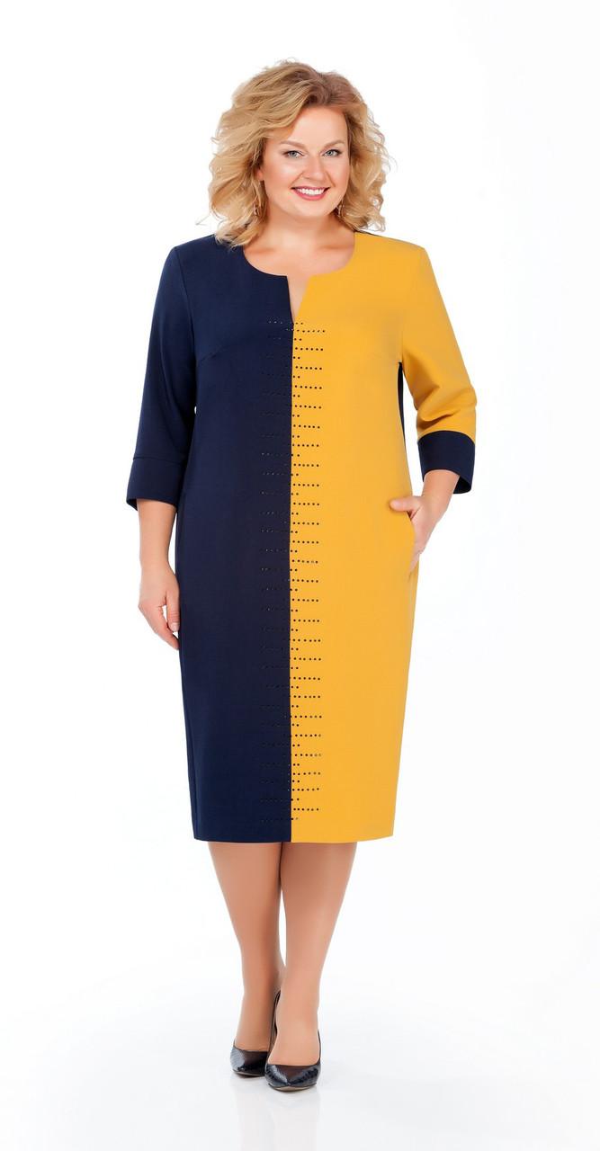 Платье Pretty-930, темно-синий+желтый, 56