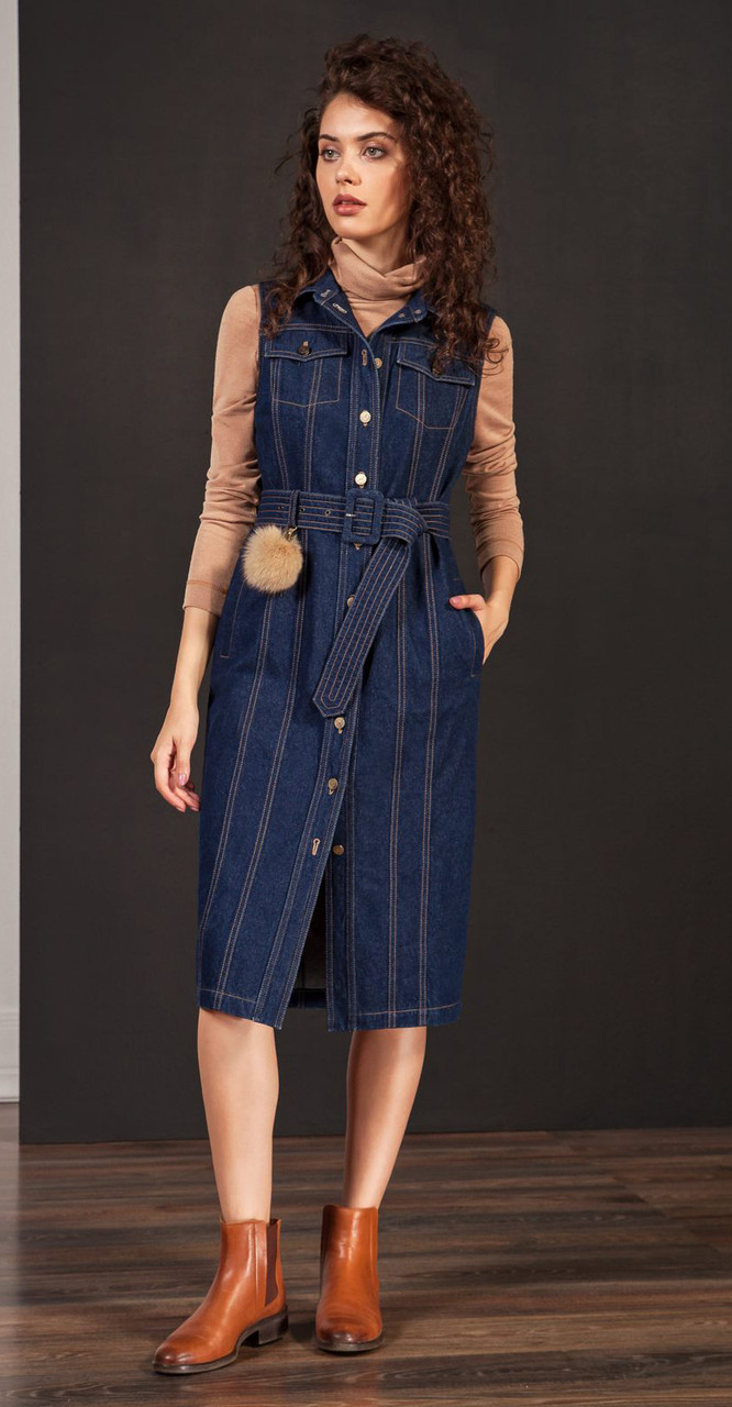 Платье Nova Line-5870, синий джинс, 46