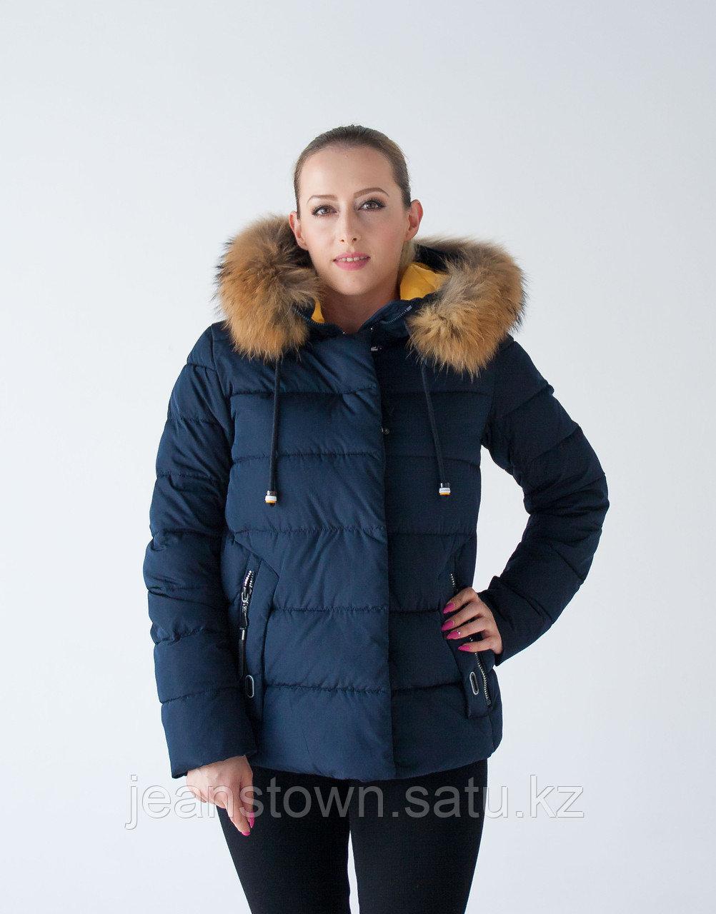 Куртка женская зимняя Tarore натуральный мех енота на капюшоне, синяя