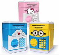 Детская электронная копилка с кодовым замком и купюроприемником (игрушечный сейф)