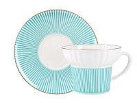 Чашка с блюдцем Геометрия-3. Костяной фарфор, авторская работа